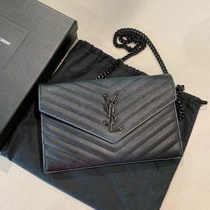 Saint Laurent YSL Wallet on Chain Black on Black😎
